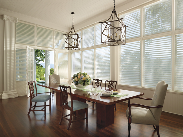 Soft, sheer Silhouette® window shadings.  It feels like a curtain.  It works like a blind.  And you can't really call it a shade.
