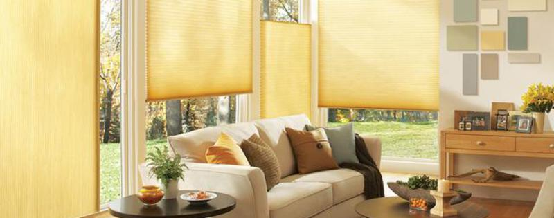 Hunter Douglas cellular honeycomb shades, modern curtains with optional Vertiglide & TopDown/BottomUp in Kennebunkport, ME